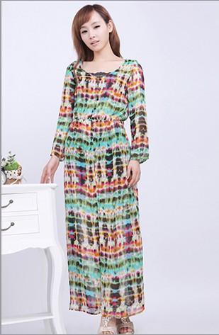 Boho Chic Womens Colorful Graffiti Maxi Long Chiffon Beach Dress L