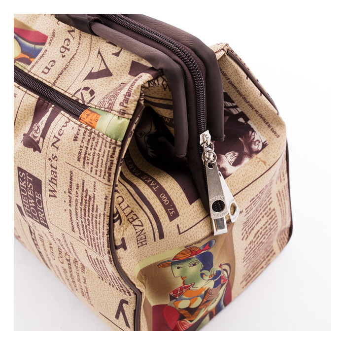 Fashion Newspaper Print Travel Handbag Duffle Gym Tote Luggage Shopping Bag